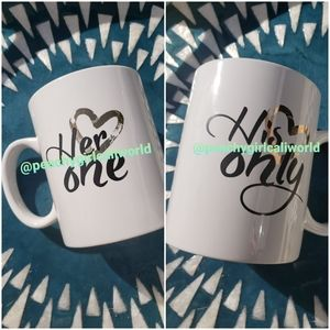 HIS ONLY HER ONE Love Partner Coffee Mug Cup Set